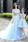 Moeder Dochter Dweilen rok trouwjurken voor Familie Bijpassende Kleding Mama Baby kant kleding Moeder en Dochter Jurk zomer - 6