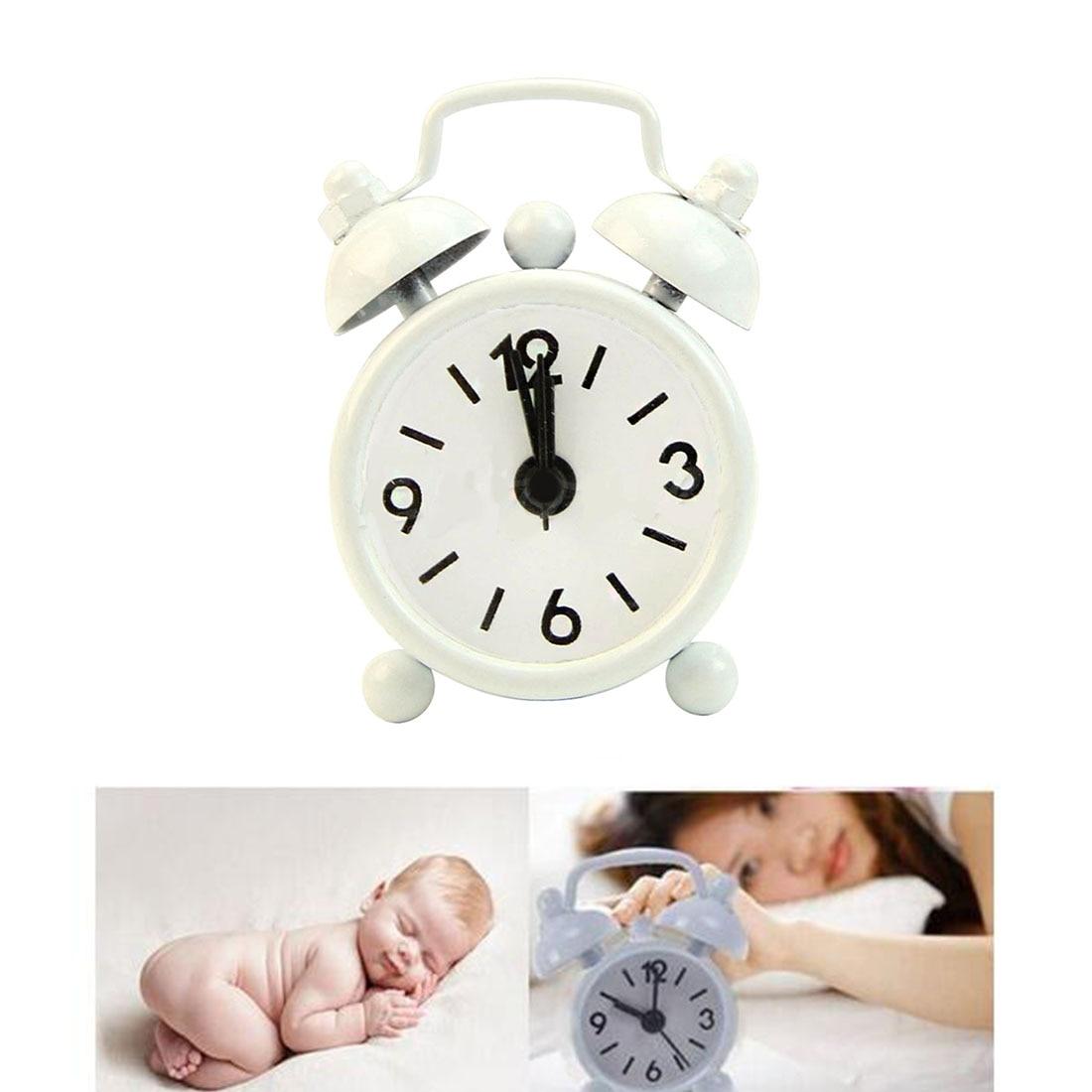 Home Decor Portable Cute Cartoon Classic Kids Children Bedroom Alarm Clock Round Number Double Bell Desk Table Digital Clock Home Decor Home & Garden