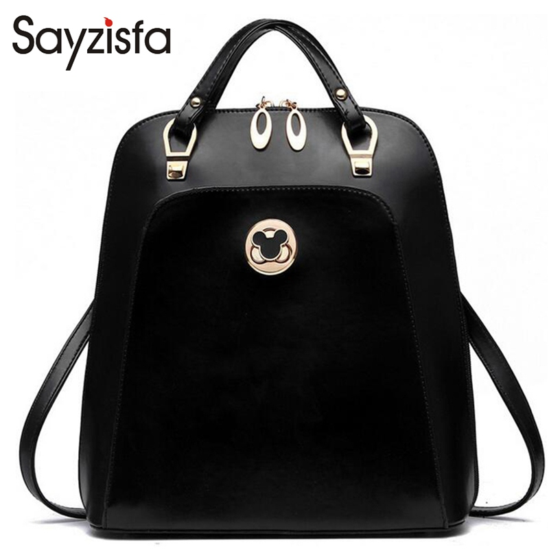 ФОТО Sayzifa 2017 Brand Fashion Backpacks Women PU Leather School Bag Girls Female Candy Colors Travel Shoulder Bags Waterproof TH060