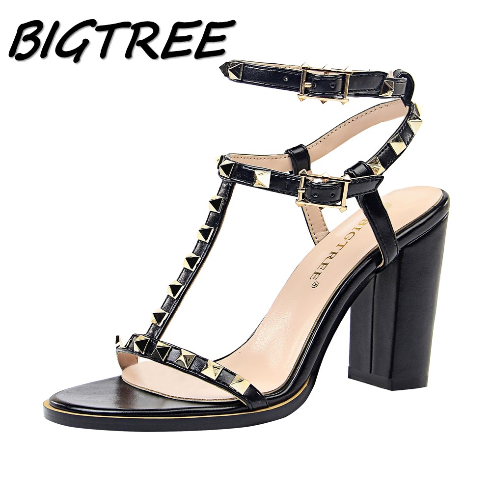 BIGTREE Summer Women High heels Sandals Shoes Woman Pumps Ladies Fashion Sexy Rivet Hollow out Female Square heels Sandals ShoesBIGTREE Summer Women High heels Sandals Shoes Woman Pumps Ladies Fashion Sexy Rivet Hollow out Female Square heels Sandals Shoes