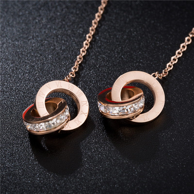 YUN RUO New Arrival Fashion Roman Number Tassel Stud Earring Rose Gold Color Woman Birthday Gift Titanium Steel Jewelry Not Fade