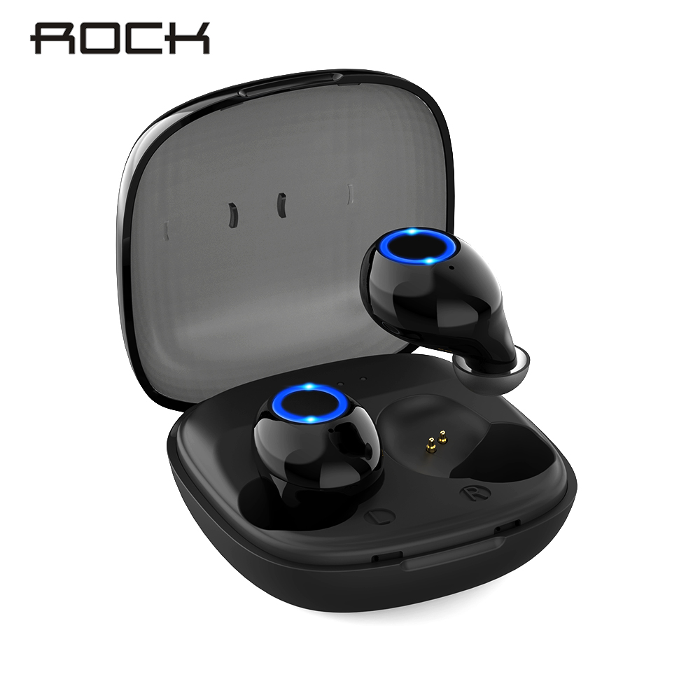 ROCK Mini TWS 5.0 Bluetooth Earphone True Wireless Earbuds Stereo Mini Headset Sport with LED Charging Box rockspace eb30