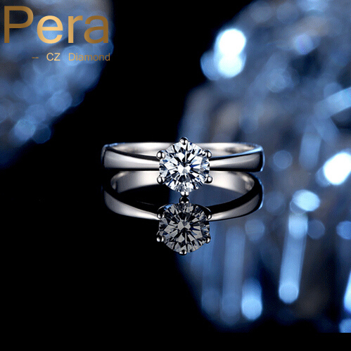 Luxury Bridal Engagement Jewelry Classic 6 Prong Sparkling Solitaire 1ct CZ Crystal Wedding Ring With 925 Sterling Silver R011