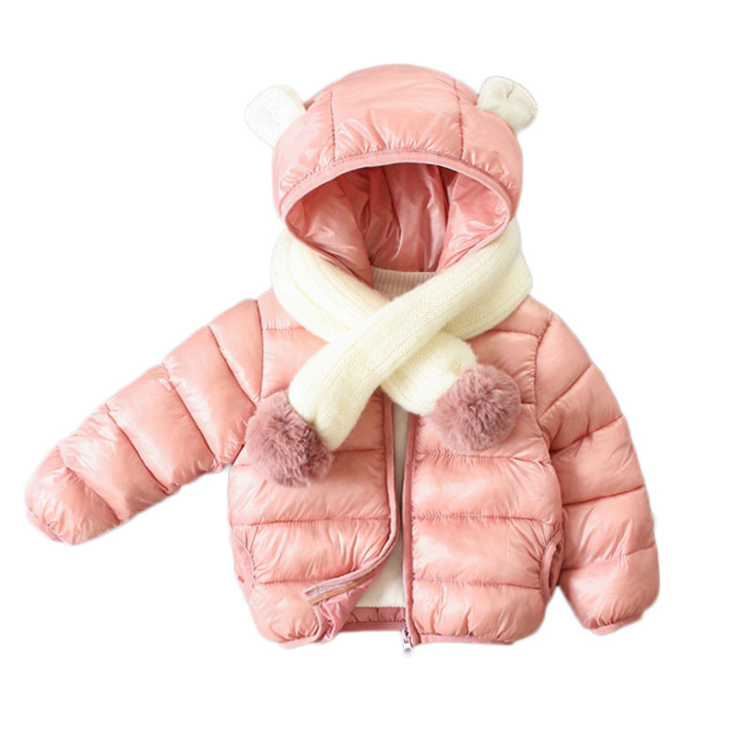 18M-6T Cute Hooded Ear Baby Girls Down Coats Snow Wear 2018 winter jacket for girl Snowsuit Kids Clothes Outerwear & Coats