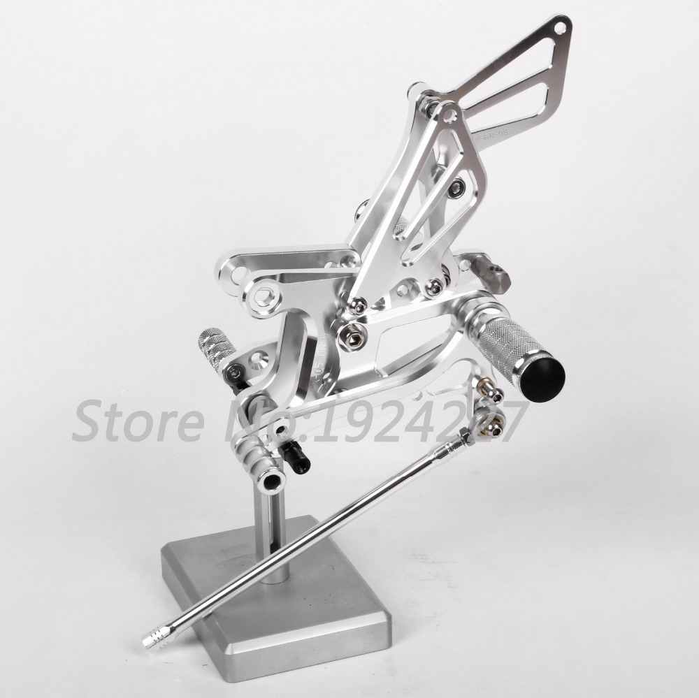High-quality Motorcycle CNC Adjustable Foot Pegs Rearsets For Kawasaki ZX6R 2005-2008 Hot Sale Motorcycle Foot Pegs Silver