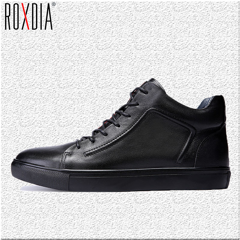 ROXDIA genuine leather men ankle boots snow winter warm fashion work male waterproof for mens shoes plus size 39-48 RXM051 men boots 2015 men s winter warm snow boots genuine leather boots with plus velvet shoes high quality men outdoor work shoes