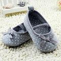 0 - 18 м хороший малыша новорожденных девочек хлопок бантом точка обувь квартиры серый обувь новый