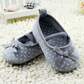 0-18M Nice Toddler Baby Girls Cotton Bowknot Dot Shoes Flats Gray Shoes New