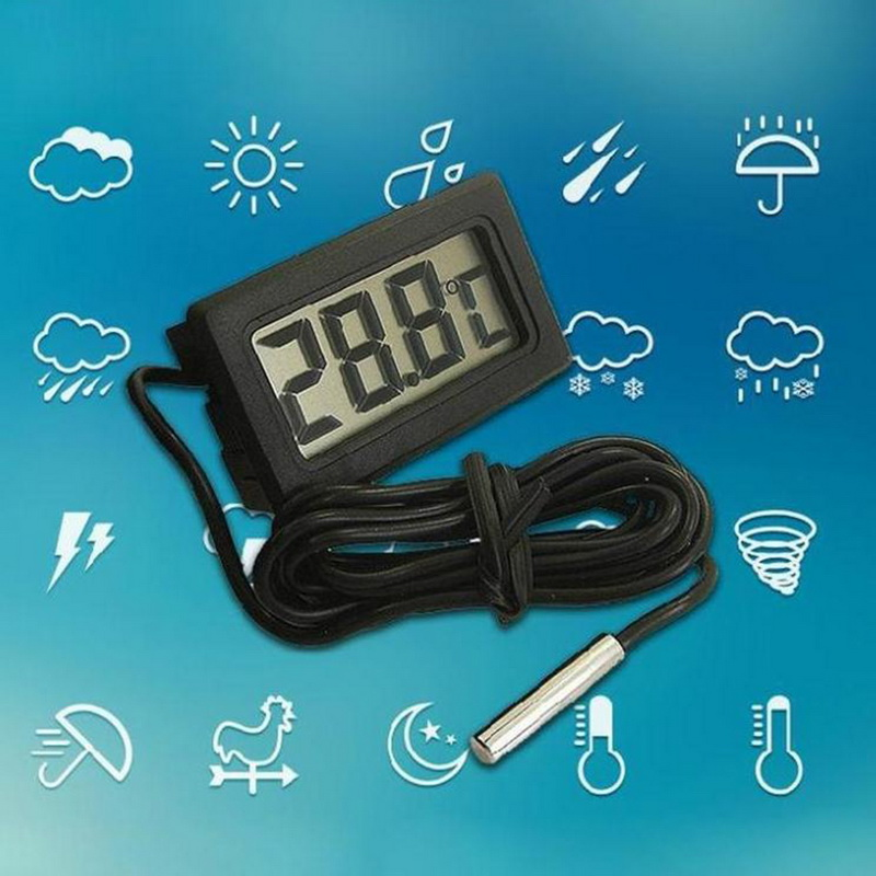 Junejour 1Pcs LCD Digital Thermometer Waterproof  Aquarium Thermometer 2 Seconds  Digital Sensor Weather Station