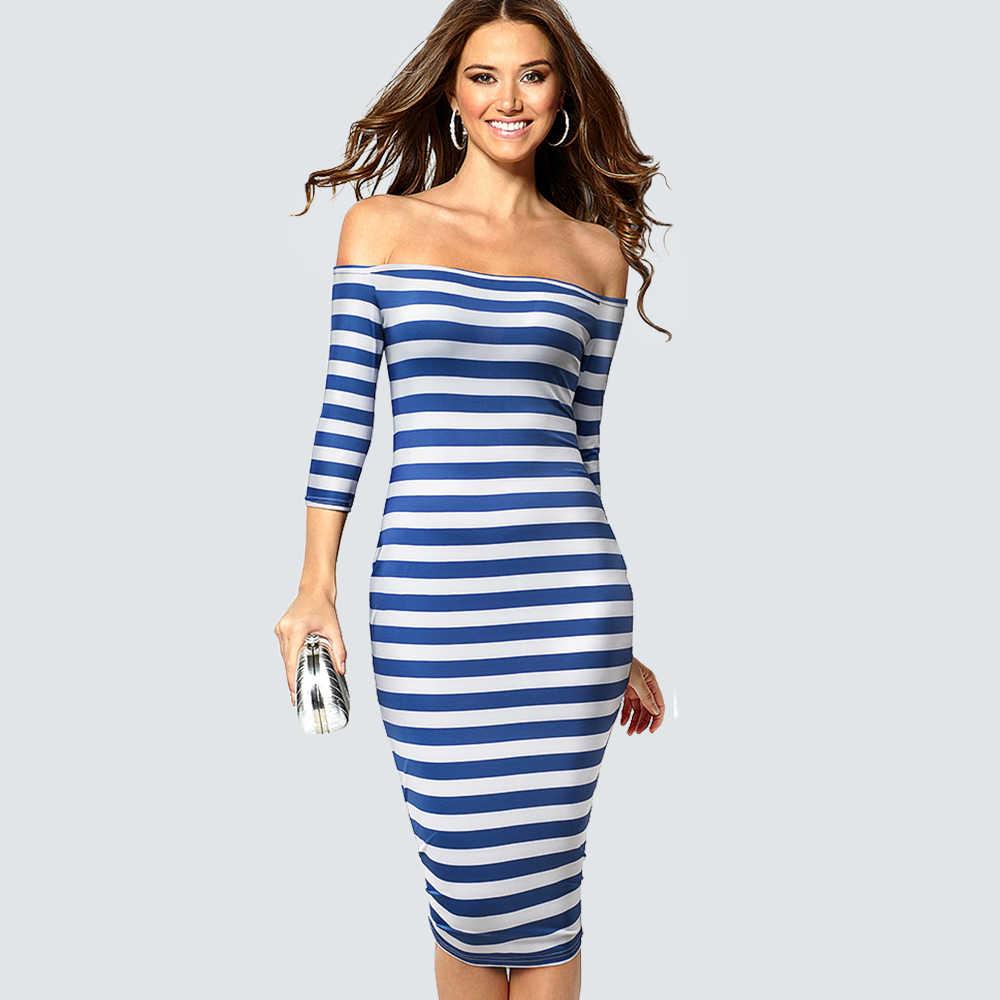 Kadınlar Casual Kılıf Klasik çizgili kalem elbise Seksi Kapalı Omuz Bodycon Ince Elbise 1H703