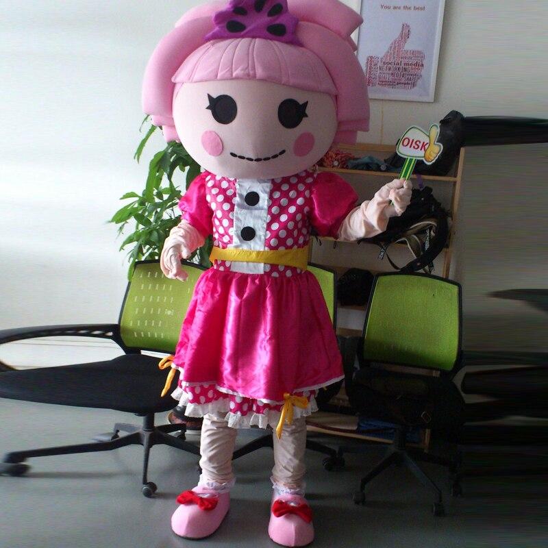 Ohlees réel photo filles rose Lalaloopsy poupée mascotte Costume adulte taille tenue en peluche Costumes fantaisie robe