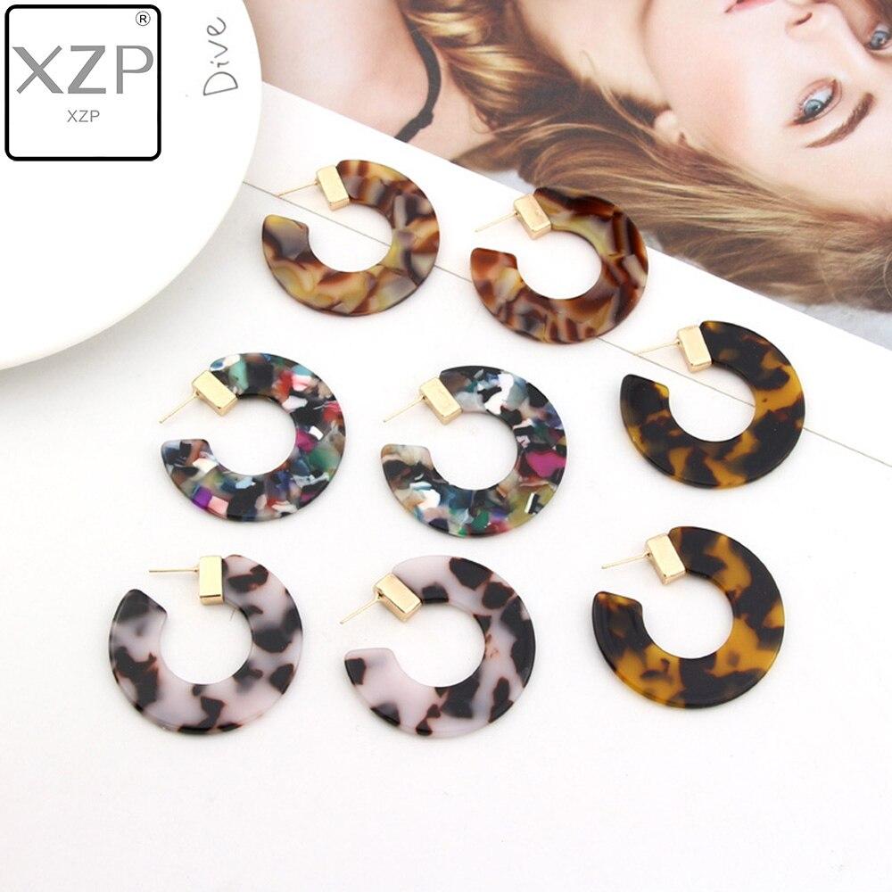 XZP Earrings Ladies Leopard Resin Earrings Acetate Version Semi circular Earrings C shaped Jewelry 2019 New Multicolor Earrings in Drop Earrings from Jewelry Accessories