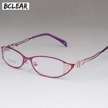 BCLEAR Gafas de negocios para mujer, montura de gafas de metal tallado hueco, gafas con marco completo, hermosas gafas de aleación a la moda, ultraligeras