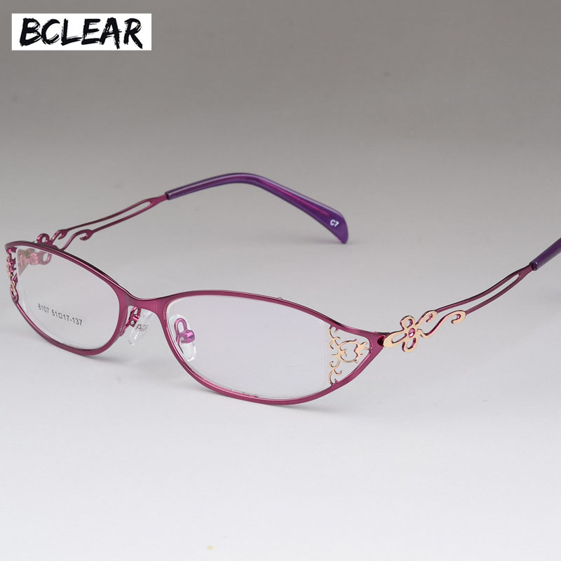BCLEAR Ladies Business Glasses Frames Hollow Carved Metal Full Frame Glasses Beautiful Fashion Alloy Ultra-light Eyeglasses New