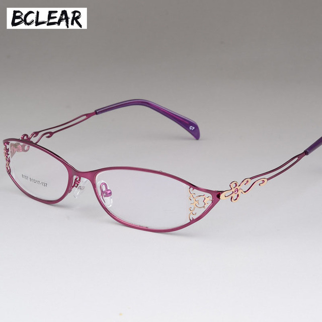 BCLEAR Ladies business glasses frames hollow carved metal full frame ...