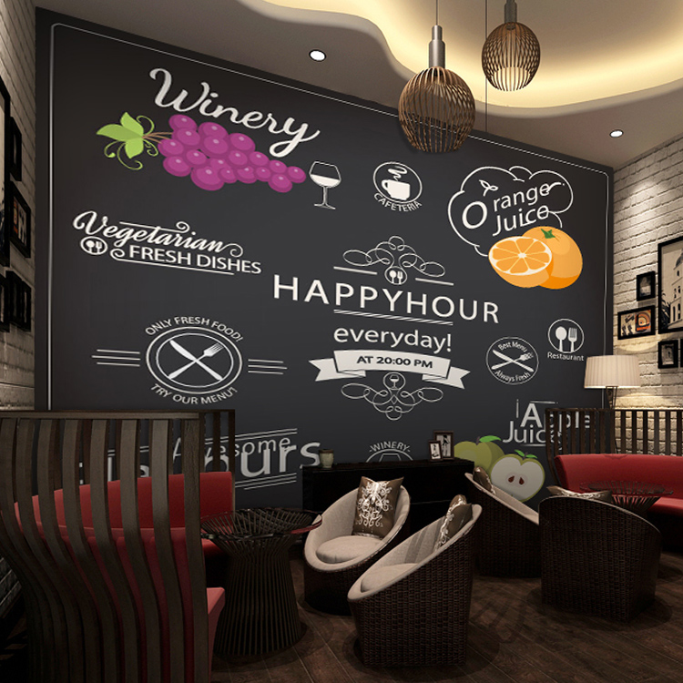 Custom Mural Personalized Food Beverage Wallpaper Fruit Shop Tea Bedroom Background Blackboard Chalk