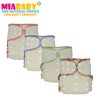 Miababy 6pce Lot OS Hemp Fitted Diaper For Heavy Wetter Baby Natural Hemp Material AIO Hemp