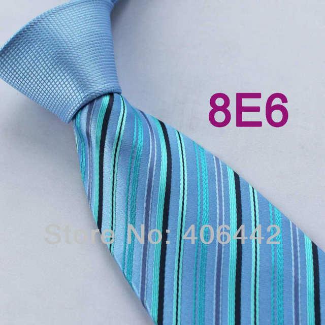 meilleurs tissus pas cher à vendre professionnel Coachella homme cravates Bleu Noeud Contraste Bleu/Turquoise Rayures Normal  Tissé Cravate Formelle cravate pour chemises habillées mariage