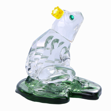 H&D 1.9inch Crystal Frog Leaves in Lotus Figurines Feng Shui Paperweight Crafts Art&Collection Table Car Ornaments Home Decor