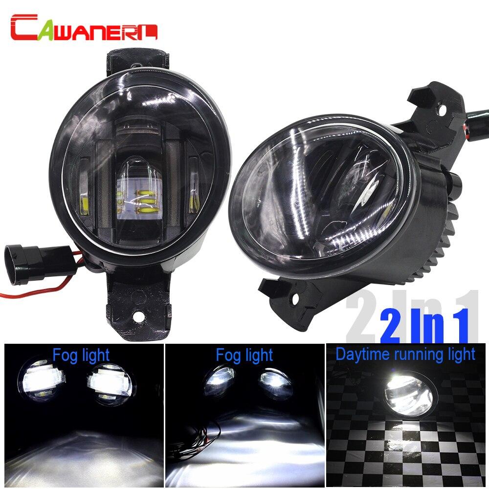Cawanerl 2 X Car Styling LED Brouillard Lumière Blanc DRL Feux de jour Lampe Pour Nissan Qashqai X-trail NV400 Pathfinder Almera Altima
