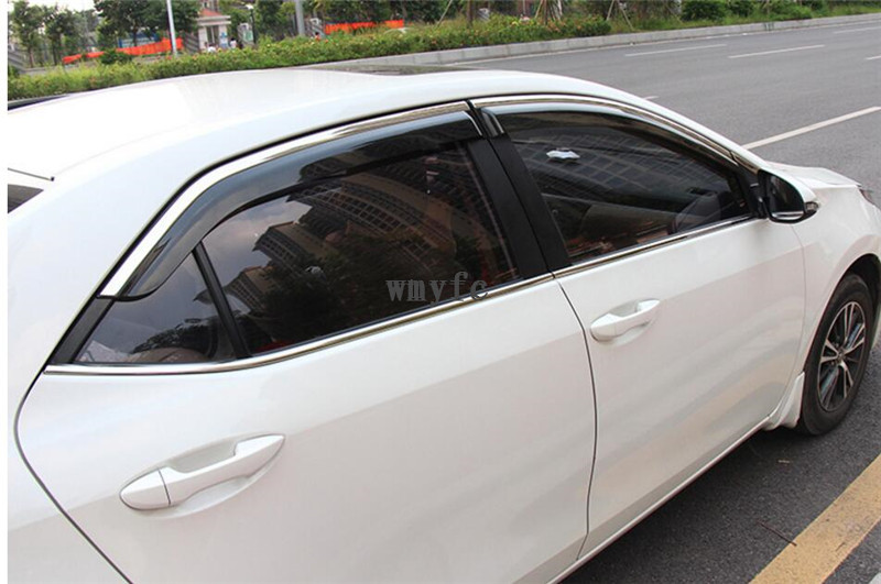 For Toyota Corolla 2014 2015 2016 2017 Window Sun Rain Visors Vent Shade Deflector Guard Weather Shield 4PCS 4pcs for toyota corolla 2014 2015 sun rain shield covers car awnings