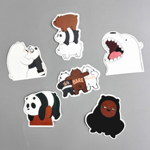TD ZW 6 Pcs/Lot American Anime We Bare Bears Sticker Decal For Car Laptop Fridge Backpack Notebook Waterproof Decal Stickers