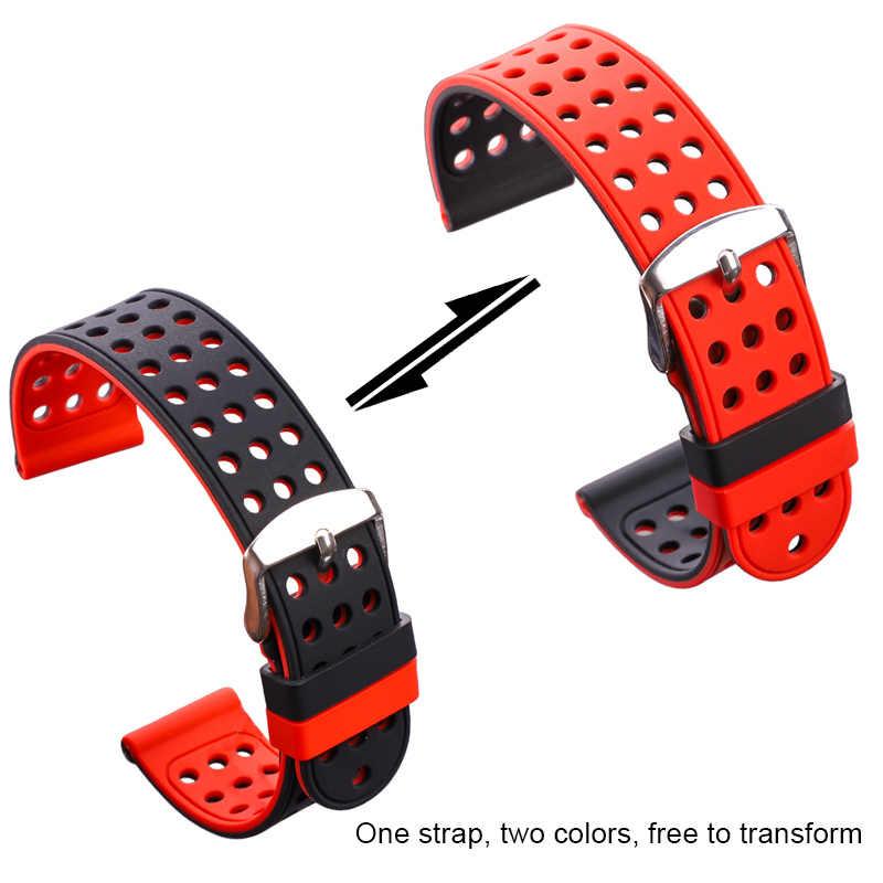 Correa de goma para reloj de silicona, pulsera deportiva transpirable para mujer y hombre, pulsera de dos tonos a la moda, 18 20 22 24mm