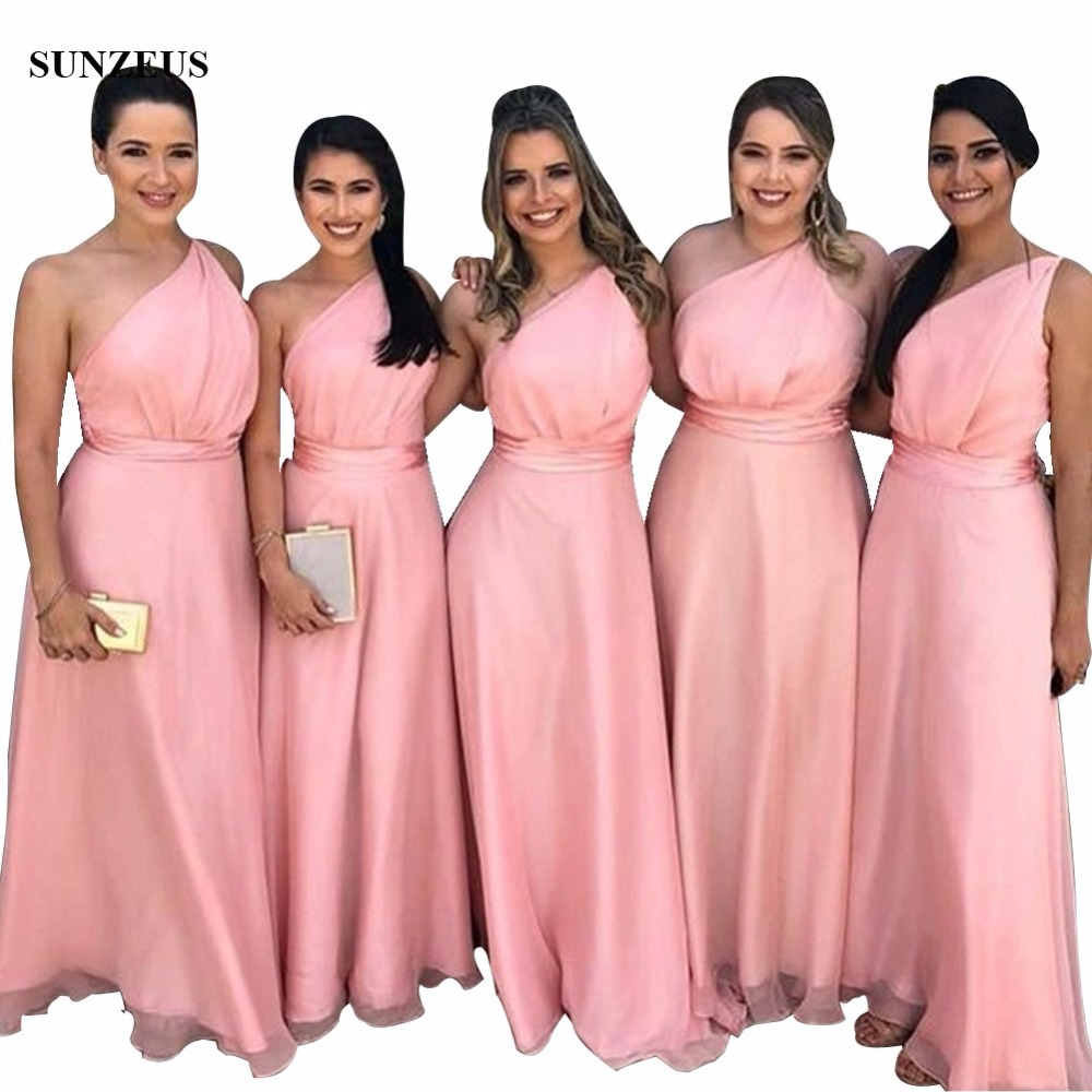 Pink   Bridesmaids     Dresses   One Shoulder Long Chiffon Women Wedding Party Gowns Sisters   Dress   BDS058