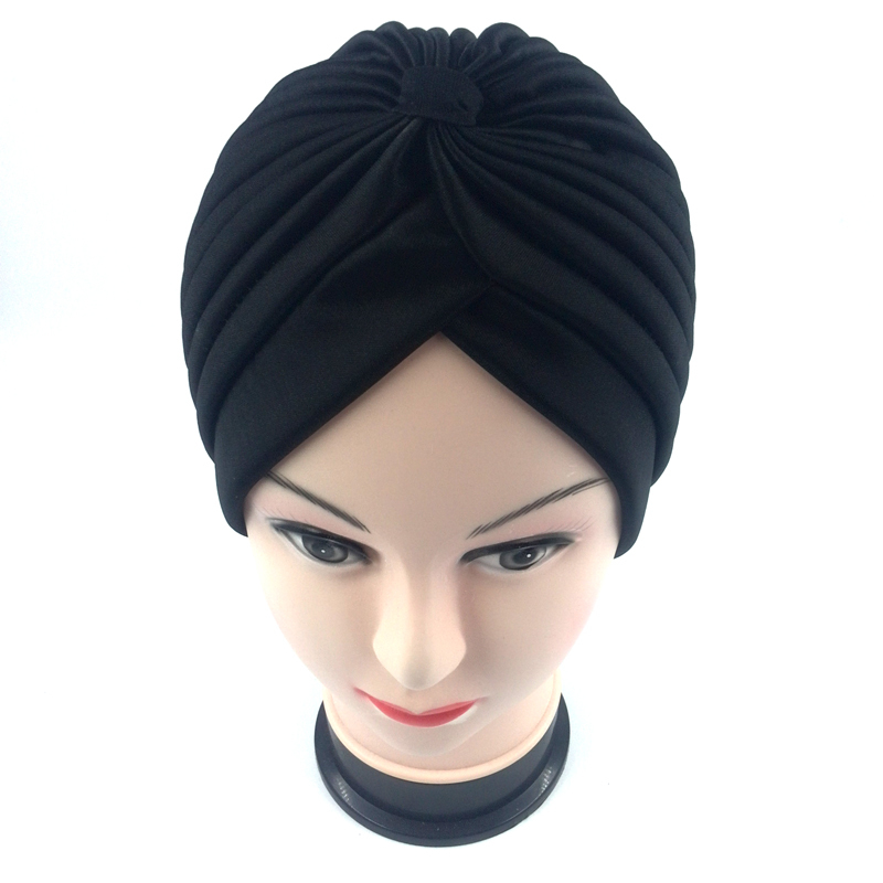 En gros 12 pc Musulman Turban Solide Cap Femmes Élastique Skullies  Bonnets Chapeau Bandanas Big