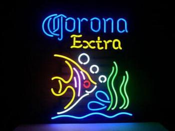 Corona Tropical Fish Glass Neon Light Sign Beer Bar