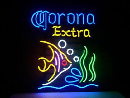 Corona Tropical Fish Glass Neon Light Sign Beer Bar