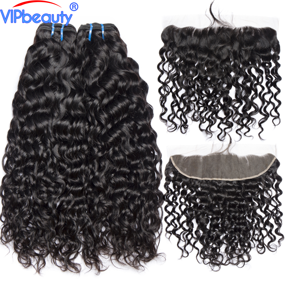 Vip Beauty Peruvian Water Wave Bundles with Frontal Non Remy Hair Extension Human hair 3 Bundles
