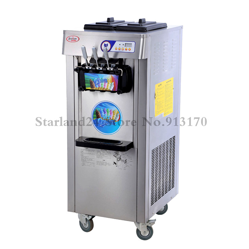 New Commercial Ice Cream Machine Stainless Steel Three Flavor Soft Ice Cream Maker 220V Upright Type edtid new high quality small commercial ice machine household ice machine tea milk shop