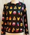 2016 New Spring Womens Men Sweatshirt Emoji Cute Black Carton Smile 3d Printed Pullover Sportsuit Hoodies XQ980