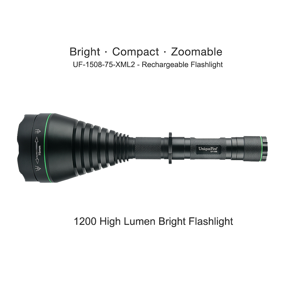 UniqueFire 1508 1200 Lumens Cree XM-L2 Tactical LED Flashlight 75mm Convex Lens Waterproof Lamp Torch For Hiking Emergency uniquefire uf 1200 super bright cree u2 lamp flashlight light from outdoor hiking night fishing hunting led flashlight