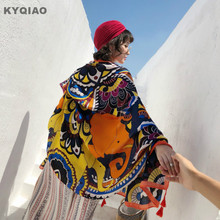 KYQIAO этнический шарф женский Осень Зима Мехико стиль винтажный дизайн длинный принт голова шарф шаль для путешествий накидка