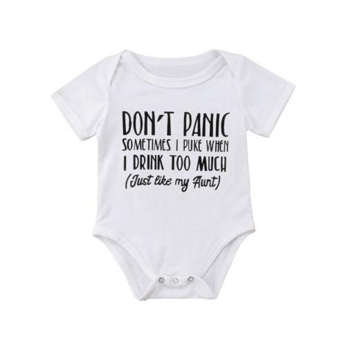 Newborn Infant Baby Boys Girls Cotton Bodysuit Letter Sunsuit Jumpsuit Playsuit Cotton Casual Clothes Outfits 0-18M Infant