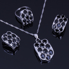 Very Good Black Cubic Zirconia 925 Sterling Silver Jewelry Sets For Women Earrings Pendant Chain Ring V0250