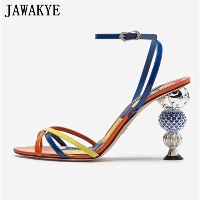 2019 luxury mixed color sandals women cross strap genuine leather peep toe Crystal diamond spherical high heels party shoes-in High Heels from Shoes    1