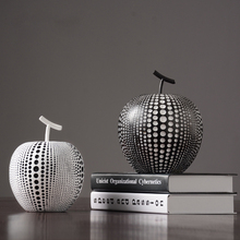 Europe Black and white apple resin Originality home decoration crafts Tabledesk  halloween cabochon Figurines