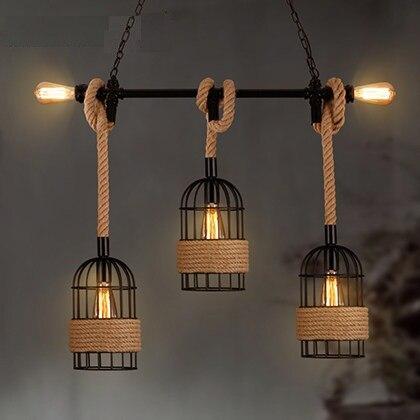 Loft Style Hemp Rope Water Pipe Droplight Edison Vintage Pendant Light Fixtures Indoor Lighting For Dining Room Hanging Lamp