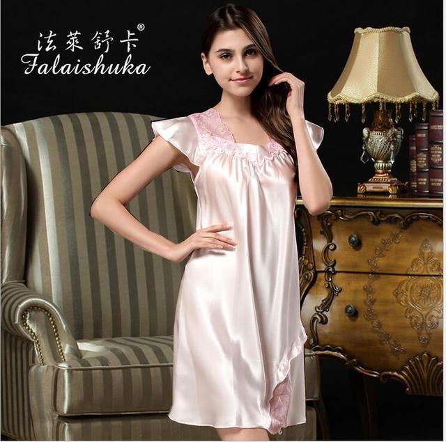 2016 new  silk women nightgown extra large lace long silk wedding women nightgowns sleepshirts sexy silk nightwear sleepwear