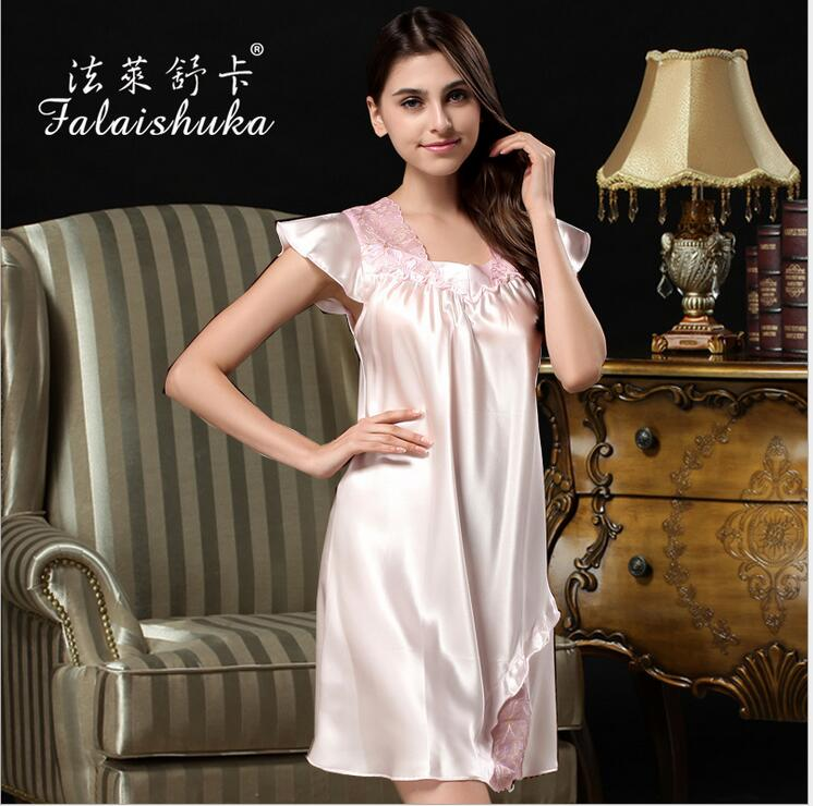 women Silk   nightgown   Homewear 2019 extra large lace lsilk wedding women   nightgowns     sleepshirts   sexy silk nightwear sleepwear
