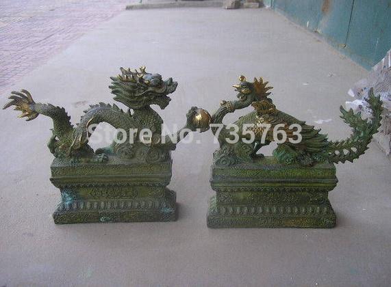00899 Folk Classic Bronze Gilt Dragon Phoenix Pair Statues