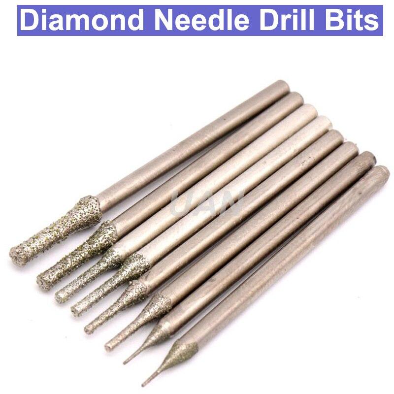 цена на 10pcs 2.35mm Shank Diamond Grinding Burr Needle Drill Bit Point Engraving Carving Polishing Glass Jade Stone Drill Bit 0.4~3.0mm