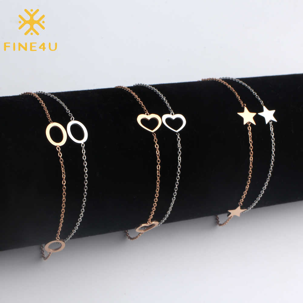 FINE4U B120 Rose Gold/Silver Color Stainless Steel Circle Star Heart Charm Bracelet Double Layer Link Bracelets For Summer Gift