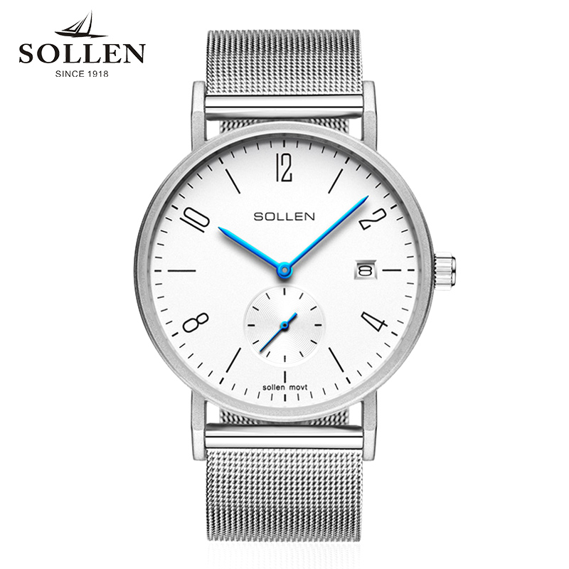 SOLLEN man watches top brand luxury waterproof quartz Stainless Steel style Simple business casual retro gentleman men watch luxury brand sollen men s business watch automatic machinery stainless steel milanian wristband successful man watches male new