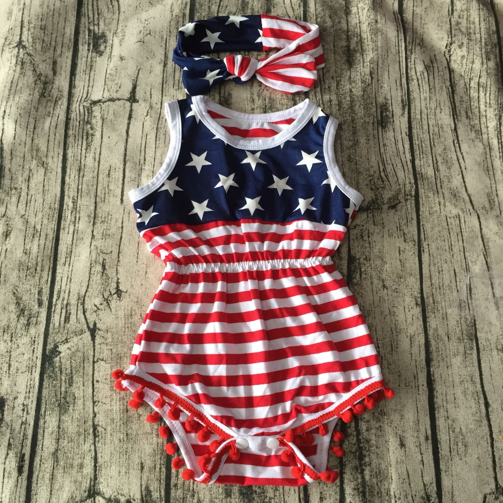 Baby Girl <font><b>fourth</b></font> of july outfits american flag Patriotic romper newborn girl 4th of july baby july 4th outfit set star print