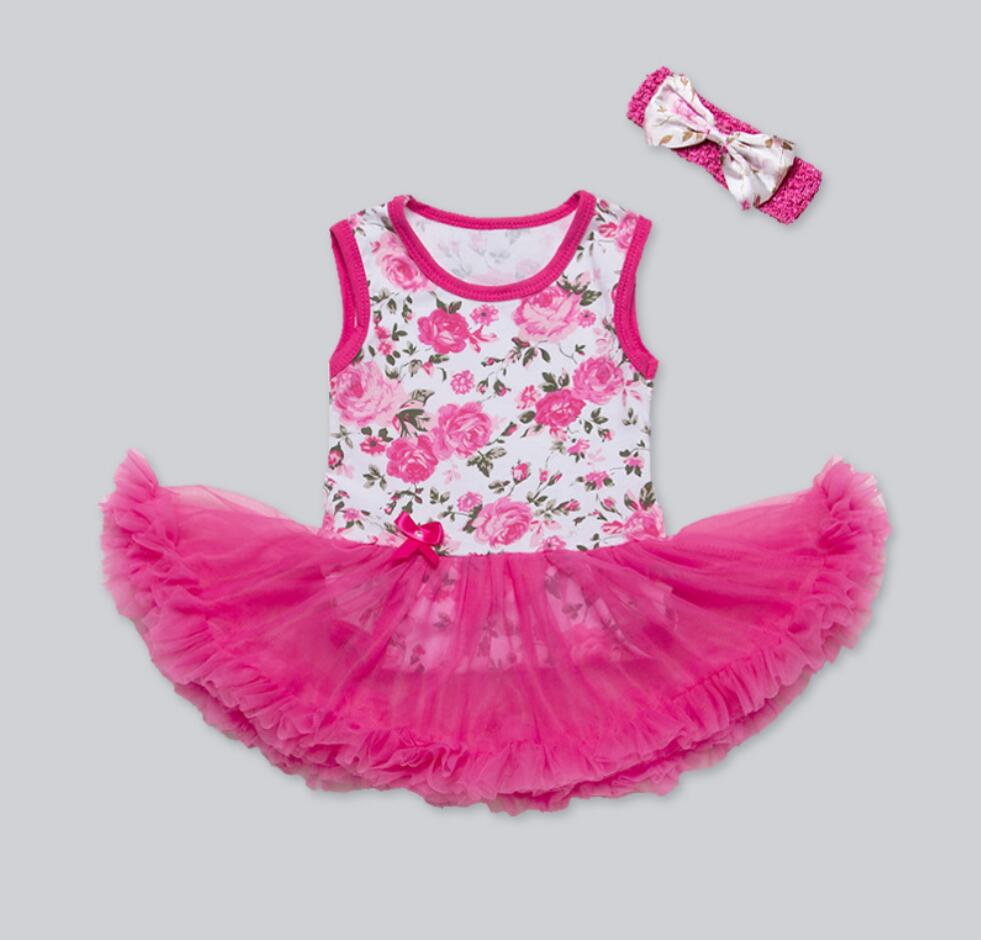 Pinkbabi Infant Baby Girls Romper 2PCs per Set Hot Pink Rose Flower Printed Baby Girl Tutu Dress Headband for 0-24Months