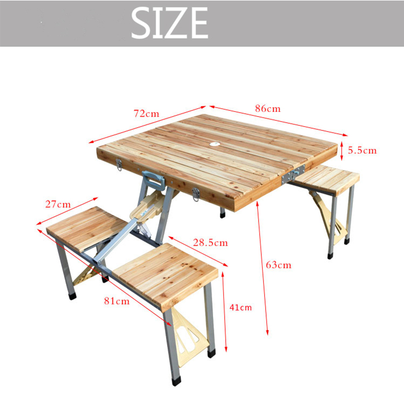 lätt att ta bärbar aluminiumlegering vika picknickbord med fyra - Möbel - Foto 4